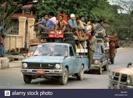 100 Pickup Trucks Used Trucks Used For Public Transportation Myanmar Stock Photo