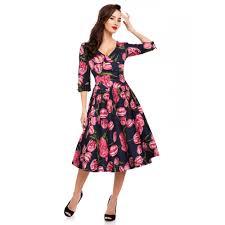 Katherine Long Sleeve 50s Swing Dress In Blue Pink Tulips