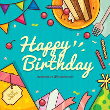 Happy birthday background with hand drawn elements Free Vector
