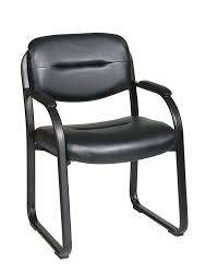 Office Chair With No Arms by Amazon Com Office Star Faux Leather Visitors Chair With Sled Base