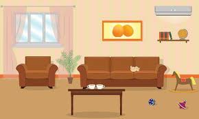living room interior in orange colors including a sofa