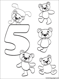 Number 5 Five Coloring Page