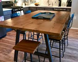 Urban Wood Goods High Top Bar Table Height Counter With A Frame Legs And Reclaimed Choose Size Finish
