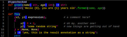Multi Line Comments And Function Annotations