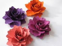 Paper Flowers For Gifts Weddings Or Scrapbooking Set Of 6 ANY COLOUR