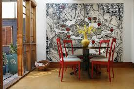 Diy Abstract Art Ideas Dining Room Contemporary With Red Chairs Linen Upholstery