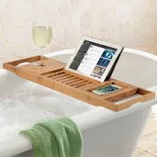 Bamboo Bathtub Caddy With Wine Glass Holder by Bambüsi By Belmint 100 Bamboo Bathtub Caddy With Extendable Sides