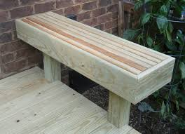 wooden deck bench flour sack mama