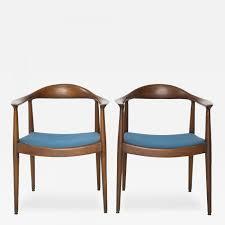 Hans Wegner - Pair Of Blue Danish Modern Chairs Attributed To