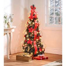 Miles Kimball 4 Pre Lit Spruce Poinsettia Pull Up Christmas Tree
