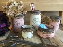 Mason Jar Office Set Flower Vase Shabby Chic Rustic Decor Distressed