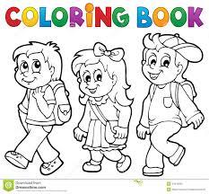 Royalty Free Vector Download Coloring Book School Kids