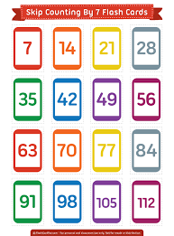 Free printable skip counting by 7 flash cards Download them in PDF
