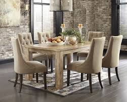 Mestler Bisque Rectangular Dining Room Table 6 Light Brown UPH Side Chairs