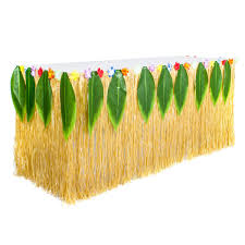 Hawaiian Luau Table Skirt Grass Skirt For Table With Luau Leaf And Hula Hibiscus Flower For Luau Party Decorations SuppliesMoana Party