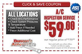 Brake And Lamp Inspection Sacramento by Ac Coupons Serving Sacramento Ca Duncan U0027s Automotive
