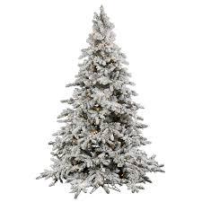 Dunhill Fir Pre Lit Christmas Tree by 9 Foot Flocked Utica Fir Christmas Tree Warm White Italian Led