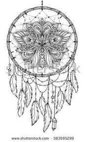 Hand Drawn Native American Indian Talisman Dreamcatcher With Feathers And Moon Vector Hipster Illustration Isolated On White Coloring Book For Adults
