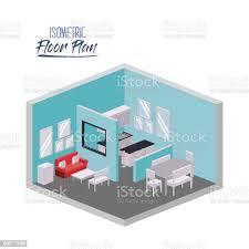 isometrische grundriss wohnzimmer und esszimmer und küche in bunten silhouette stock vektor und mehr bilder architektur