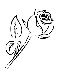 Single Rose With Leaves Coloring Page