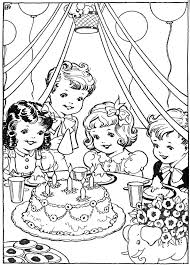 Darling Vintage Coloring Page Children With Birthday Cake