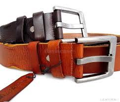 genuine buffalo leather belt 43mm men womens waist handmade