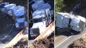 100 Duel Truck Driver VIDEO Oversized Truck Slides Down Embankment In California