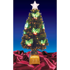 Northlight 3 Ft Pre Lit With LED Holly Berries Fiber Optic Artificial Christmas Tree