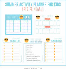 A Fun Summer Activities For Kids Planner Printable That Will Help You Keep All Of Your