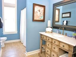 royal blue bathroom decor tan white wall sink toile floating