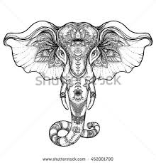 Beautiful Hand Drawn Tribal Style Elephant Coloring Book Design With Boho Mandala Patterns