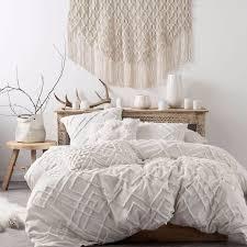 Lush Decor Belle 4 Piece Comforter Set by Brand New Linen House Sanura White Duvet Doona Quilt Cover Set