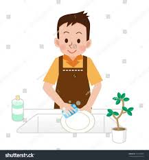 Boy Washing Dishes Clipart