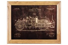 100 Fire Truck Wall Art Wood Rectangle Of 1916 Patent Print By Herman