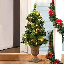 3 Ft Tree Lit Tabletop Artificial Entrance With Led Lights Gold Pre Rotating Christmas Martha Stewart