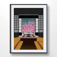 JAPAN ZEN POSTER Zen Garden Cherry Tree Japan Wall Art Living Etsy