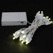 20 LED Battery Operated Lights Warm White Wire