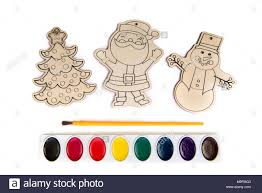 Wood Craft Shapes Or Wooden Cutouts Including Santa Christmas Tree And Snowman With Paint Brush Watercolor Set