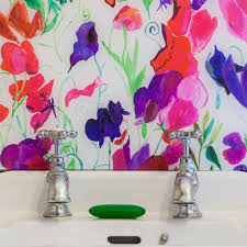 Sweetpea Patterned Glass Splashback