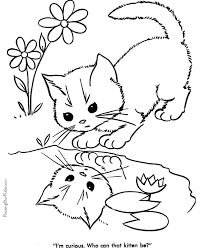 Kitten And Cat Coloring Sheets