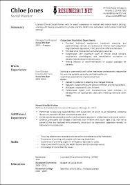 Resume Templates Curriculum Vitae Example Social Worker