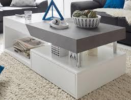 couchtisch in weiß matt lack mit grau wohnzimmer tisch ausziehbar mit schubkasten 120 x 60 cm