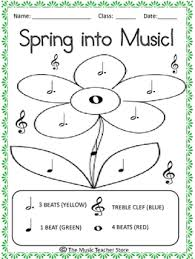 Spring Into Music Note Identification Coloring Page