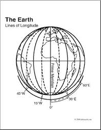Clip Art Earth Lines Of Longitude Coloring Page I Abcteach