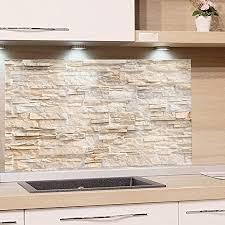 grazdesign küchen spritzschutz glas bild motiv steinmauer hell steinoptik glasbild als küchenrückwand küchenspiegel 60x40cm