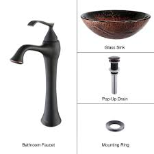 Overstock Bronze Kitchen Faucets by Bathroom Glass Vessel Sink And Faucet Combination Kraususa Com