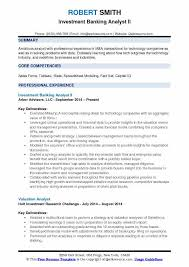 Investment Banking Analyst II Resume Format
