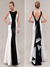 cheap evening dresses white and black sheath slim lon gprom