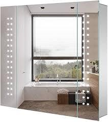 tokvon led spiegelschrank 60 x 65 cm aluminium