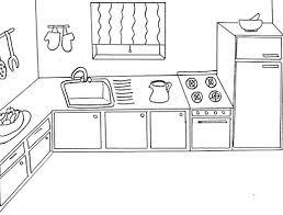 Coloring Page Kitchen Room Buildings And Architecture 18